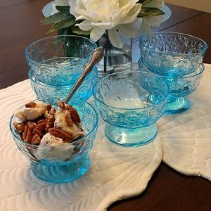 Other - Vintage Blue Glass Ice Cream Dessert Stem Dish 8oz